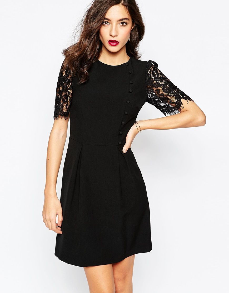 Black dress lace sleeves - Warehouse Lace Sleeve Button Front Dress