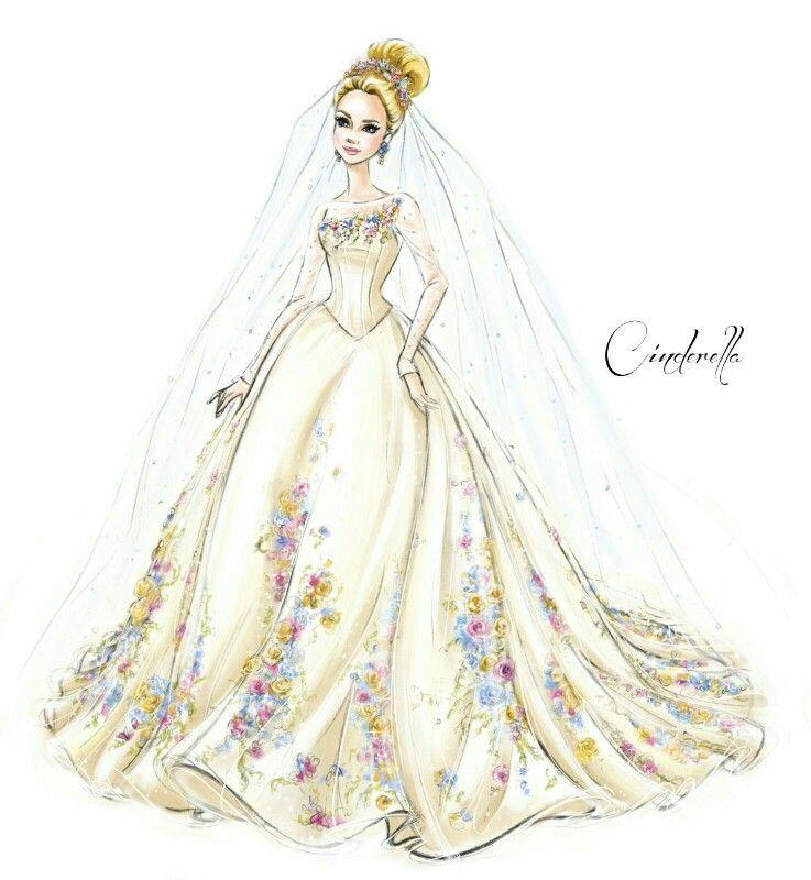 concept sketch for cinderellas wedding dress have
