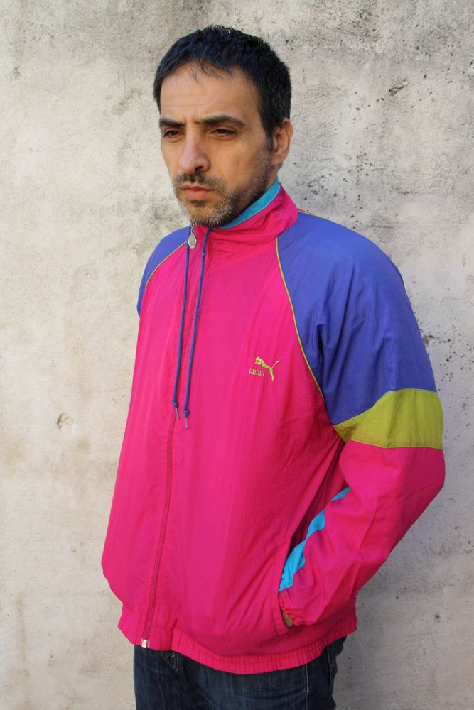 64ee9a8ecc6c puma mens vintage  80s tracksuit top jacket shell nylon multi 5 l festival  flou from  35.76