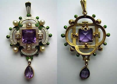 Pendant circa 1910, in the Suffragette colours of purple, white and green.