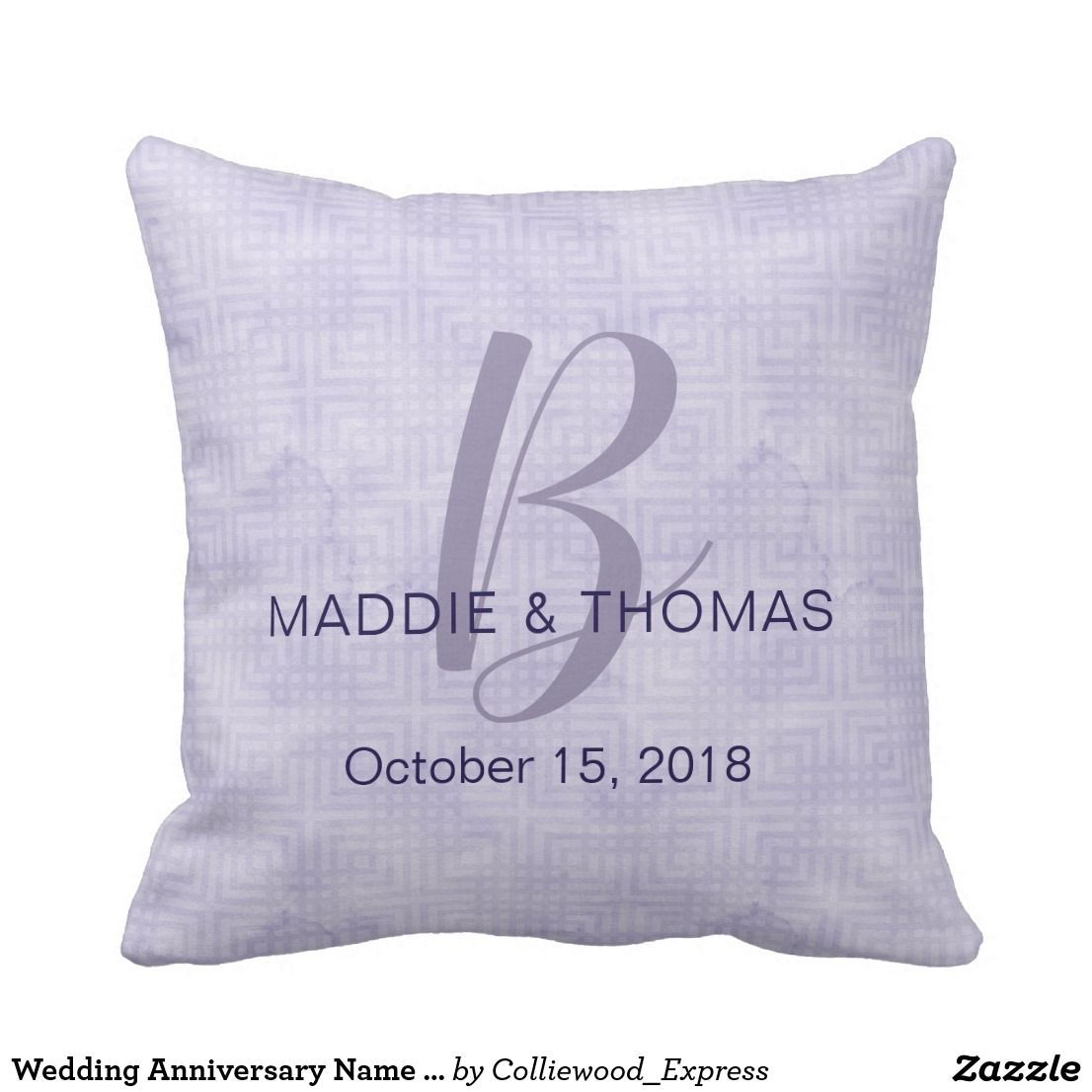 Wedding decorations names october 2018 Wedding Anniversary Name and Initial Ultraviolet Throw Pillow