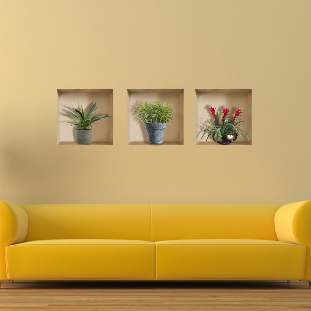 Vase Plant 3D Riding Lattice Wall Decals PAG Removable Wall Art Grid ...