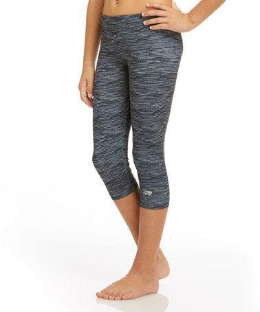 Loving this Black Space Dye Capri Leggings - Girls on #zulily! #zulilyfinds