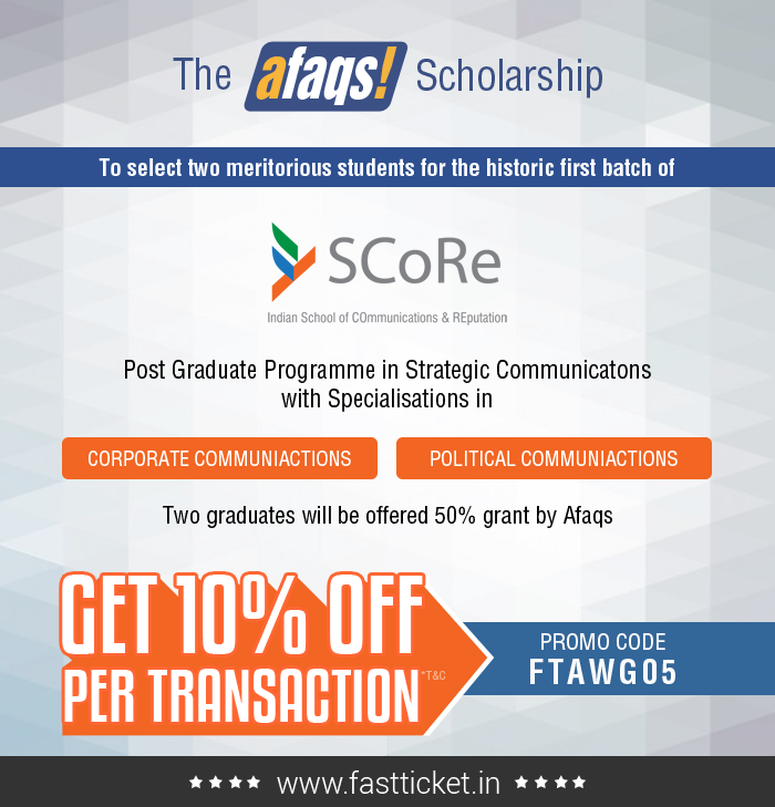 SCoRe - Indian School of COmmunications & REputation  The #Afaqs #Scholarship will select two meritorious students for our historic first batch. The two students will be offered enrollment with a 50% grant from Afaqs.  Book at 10% off Know More:- http://fastticket.in/event/afaqs-scholarship