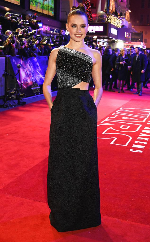 Daisy Ridley from Star Wars: The Force Awakens Premieres Around the World  The glamour girl sparkles in this black and grey geometric gown at the European premiere of Star Wars: The Force Awakens in London.