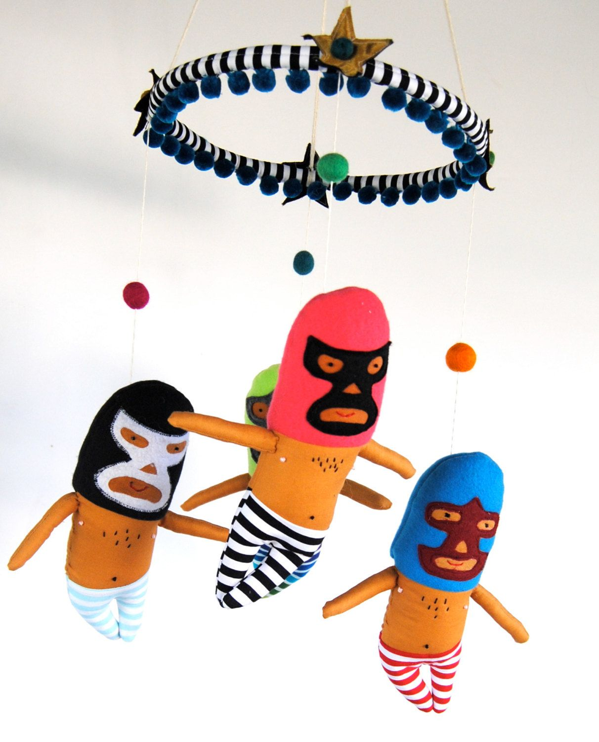 Juguetes Lucha Libre Luchador Baby Mobile For A Colorful Modern Nursery