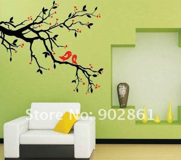 wall stencil tree limb border | on Tree Branch Living Room ...
