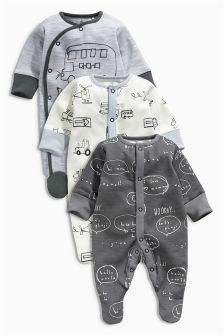 Next Grey Transport All-Over Print Sleepsuits Three Pack (0mths-2yrs) £16.50