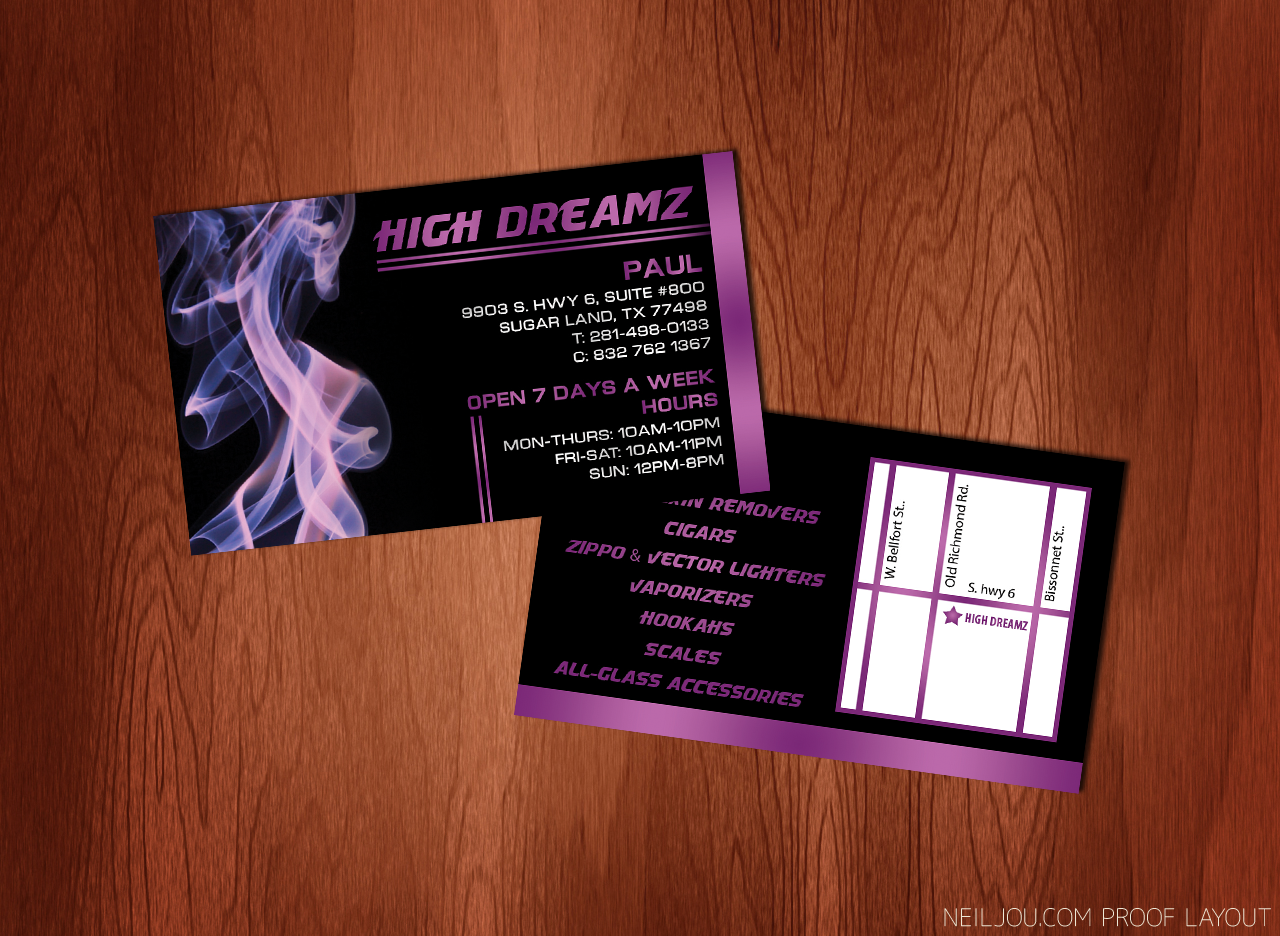 Business cards design and printing for High Dreamz Smoke Shop ...