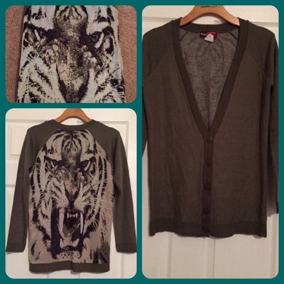 Tiger print sweater cardigan Tiger print on back, button up olive color cardigan Sweaters Cardigans