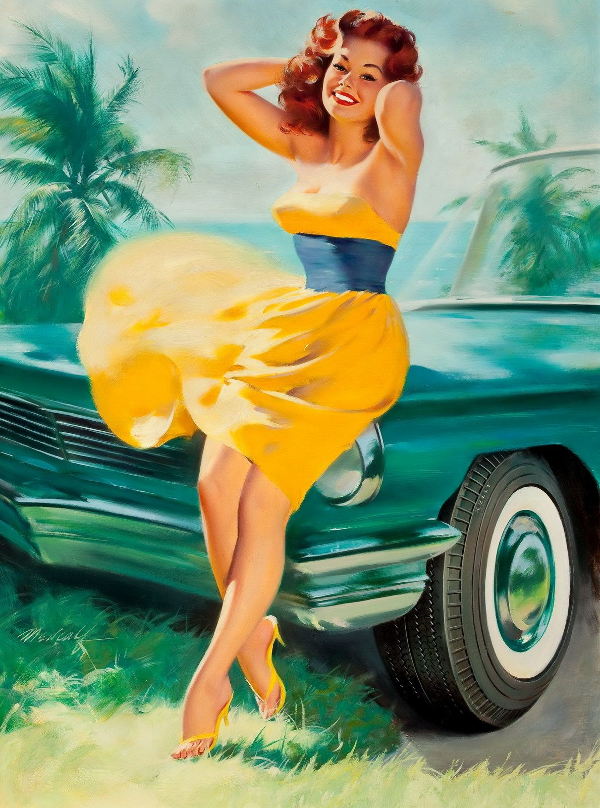 Redheaded Pinup Girl With Car Tattoo Ideas Inspiration