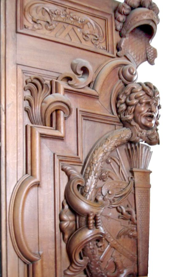 Wood carving deep relief fine art carved doors