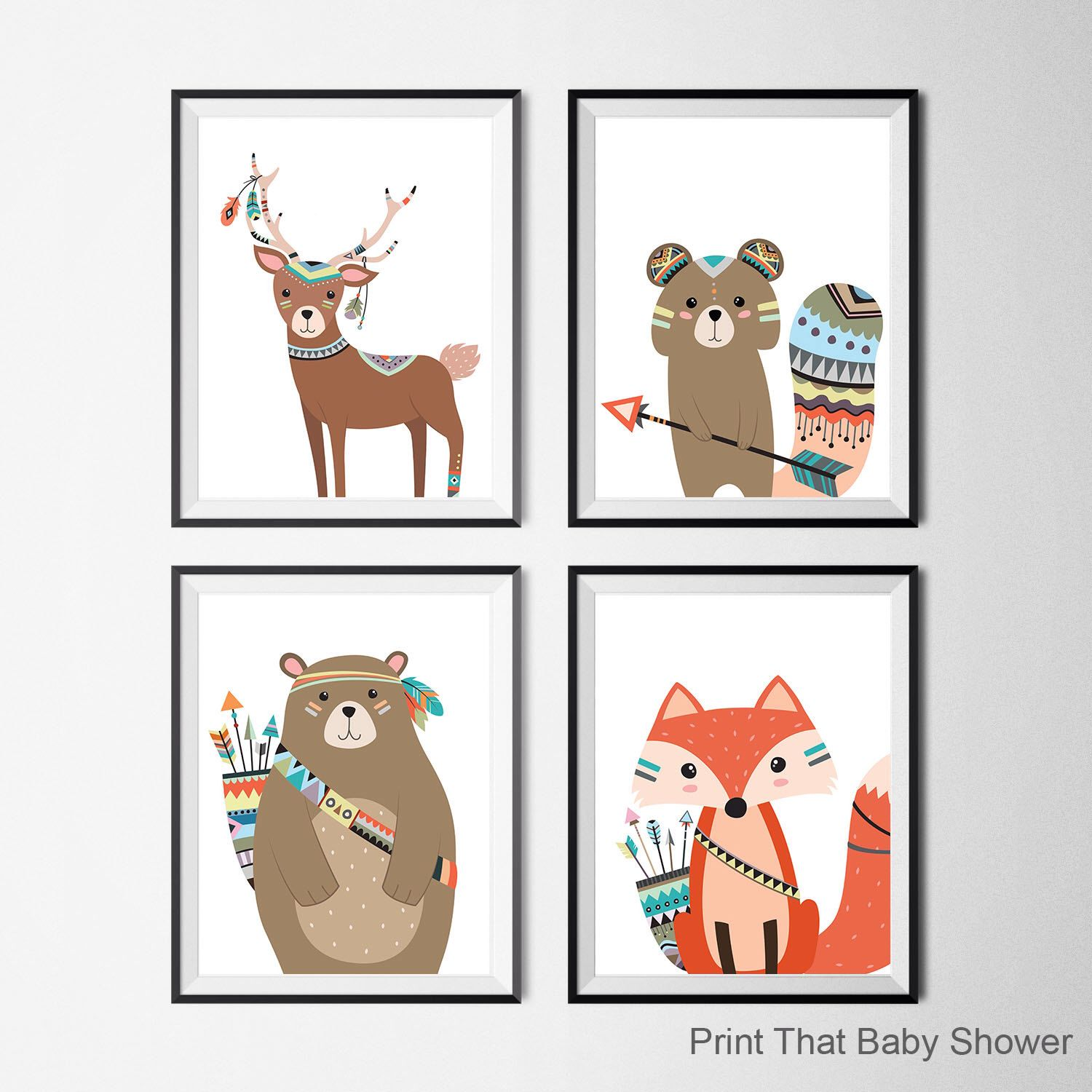 Tribal Animals Nursery Print Set Of 4 Kids Wall Art Printable Woodland By Printthatbabyshower