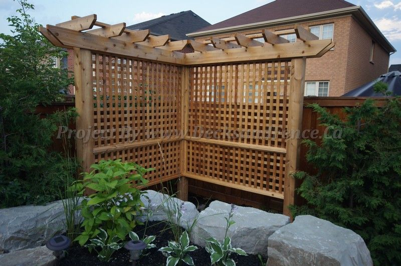 a mini pergola privacy fence by the pool side #Toronto #Deckdesign  #customdeck #landscaping #interlocking #patio - A Mini Pergola Privacy Fence By The Pool Side #Toronto #Deckdesign