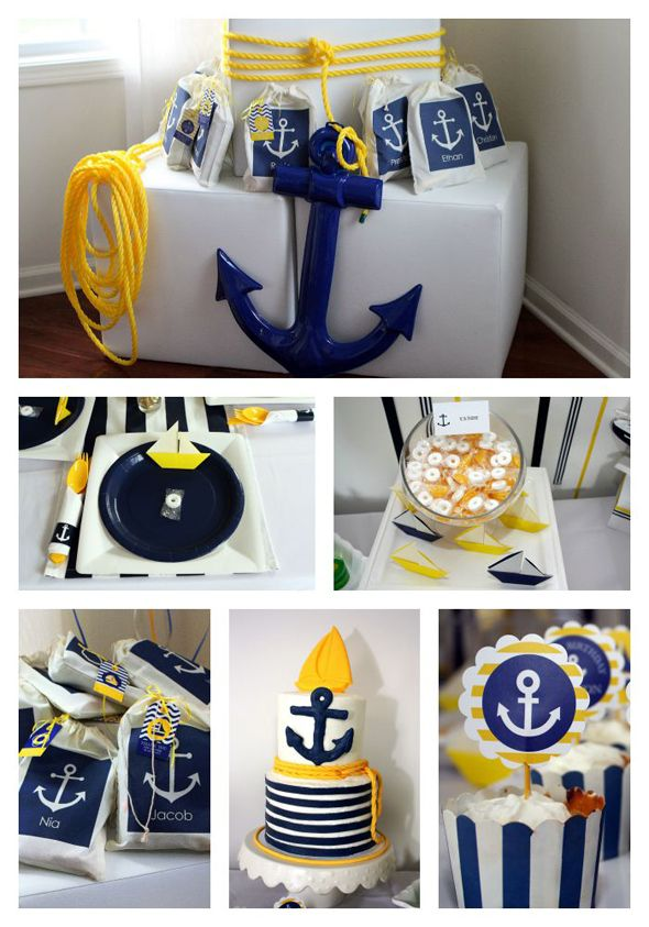 Preppy Boy Nautical Birthday Party Cumpleaños, Cumple y Fiestas - adornos para fiesta de nia