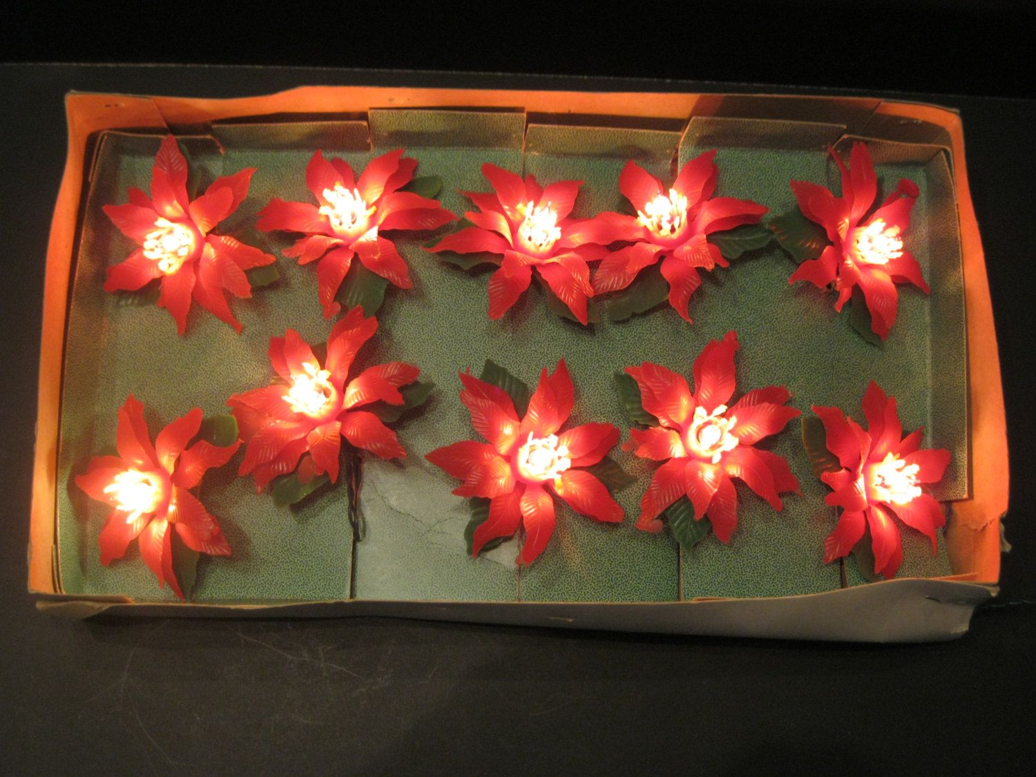 Vintage Plastic Poinsettia Christmas Lights, Christmas Lights by ...