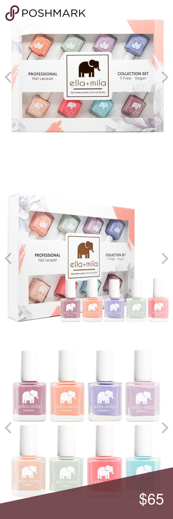 """Ella+Mila BonBon Collection Set Sold out online New in packaging. Nail polishes have never been taken out of box or opened   Dulce Amor, French Kiss, Late Night Tart, Midnight In Paris, Dessert Island, Pistache, Sweet Tooth, My Baby Blue   """"7-Free"""" products do not contain: Formaldehyde, Toluene, DiButyl Phthalate (DBP), Formaldehyde Resin, Camphor, TPHP, Xylene  Vegan  Animal cruelty-free  Quick Dry  Chip Resistant  Made in the USA  Certified by PETA ella+mila Makeup"""