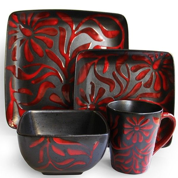 American Atelier Daisy Red 16 Piece Dinnerware Set   Free Shipping Today    Overstock.