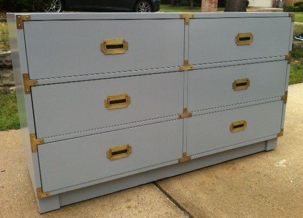 Vintage Drexel Campaign Dresser in Glossy Grey. Vintage Drexel Campaign Dresser in Glossy Grey   Pieces Finished