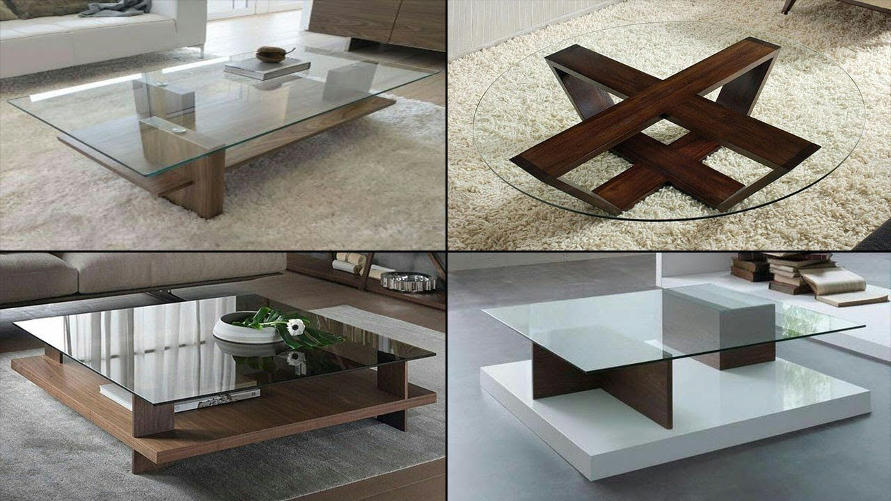 wooden centre table designs with glass
