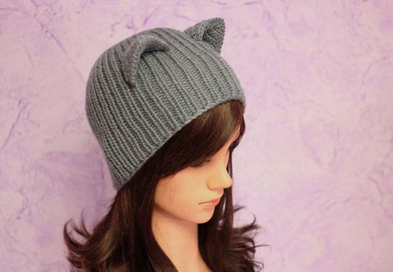 cbf8c6c6fc0 Funny Hats · Animal Hats · Cat Ears · Gray cat ears hat Cat Ears Crochet cat  hat Kitty ears Grey Hat