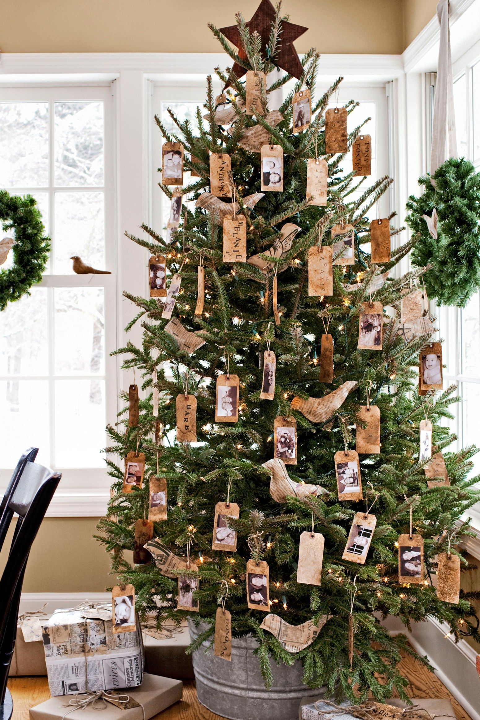 neutral christmas decor natural tree green wreaths living