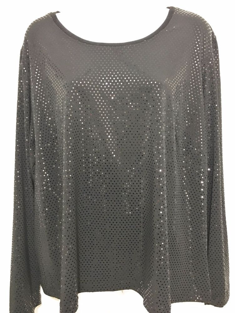 a0f1d15fd77 Laura Ashley Woman 2X Black Reflective Polka Dots Long-Sleeve Pullover Top   LauraAshley  Pullover  EveningOccasion