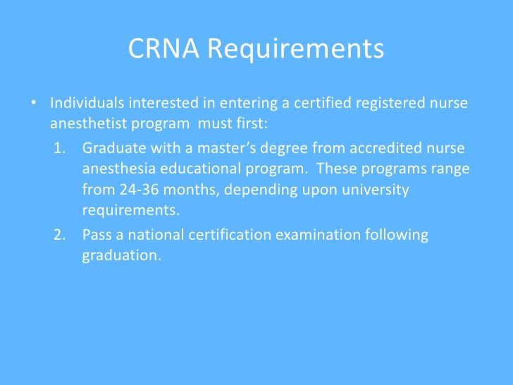 Crna Powerpoint Nurse Anesthesia Certified Registered Nurse Anesthetist Nurse Anesthetist