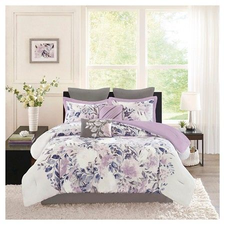 Lira 8 Piece Watercolor Floral Comforter Set Purple Queen