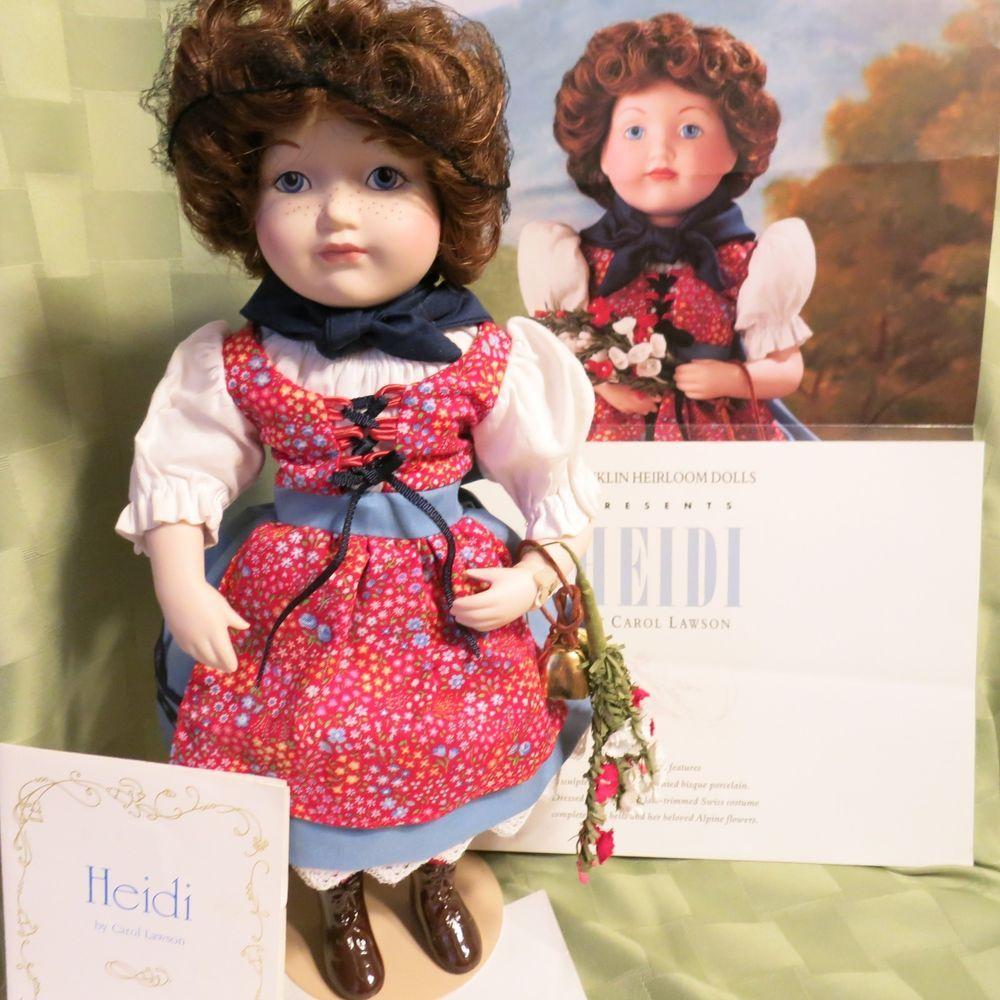 "Vintage Porcelain Franklin Heirloom Doll 6"" Heidi Original Box"