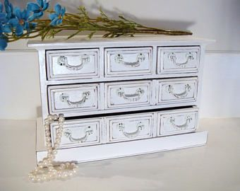 Shabby chic jewelry box white jewelry box blue jewelry holder