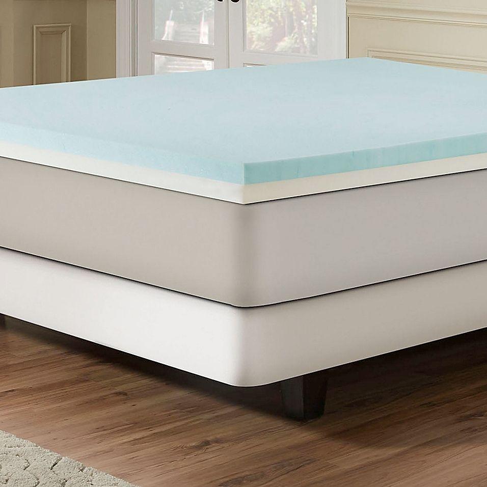 Combination Gel Memory Foam 3 Queen Mattress Topper In Blue White