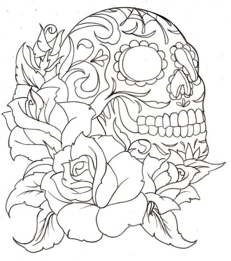 Rose Skull Coloring Pages Design