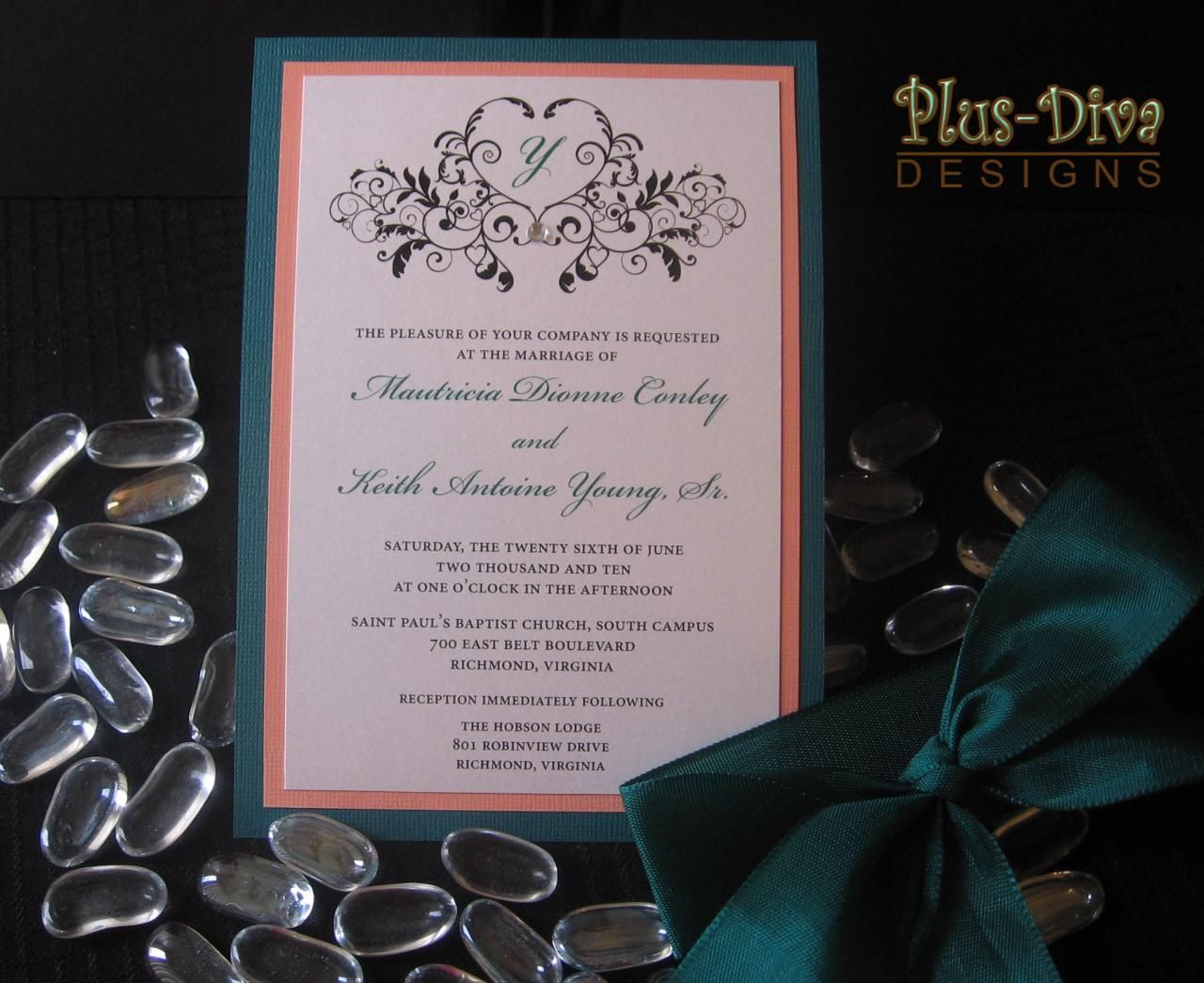 Coral And Teal Wedding Invitations: Teal And Coral Wedding Invitations