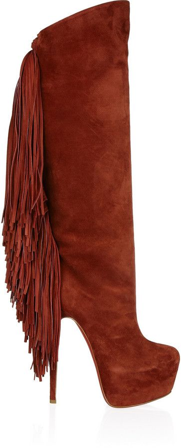 161604585de Christian Louboutin Interlopa 165 fringed suede knee boots on shopstyle.com