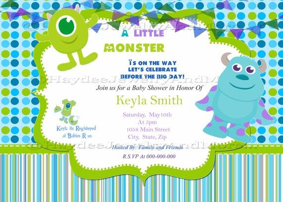 Monster Inc Baby Shower Invitation Water Bottle Labels