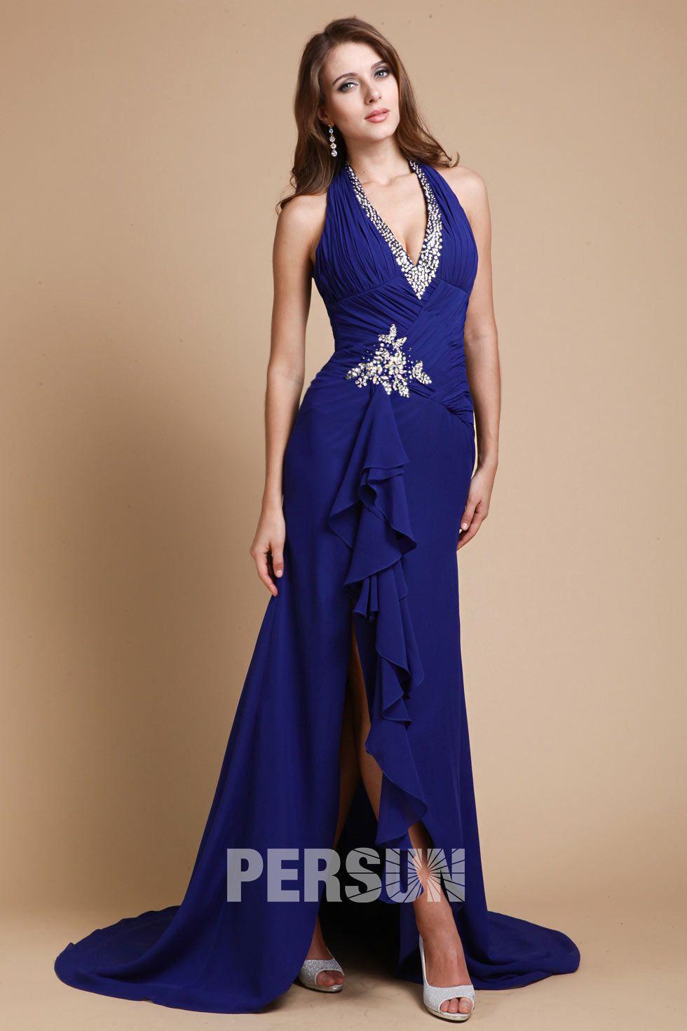 cafb9bd441d Longue robe de soirée bleu sexy fendue avec bretelle strassé autour de col  - Robedesoireelongue.fr