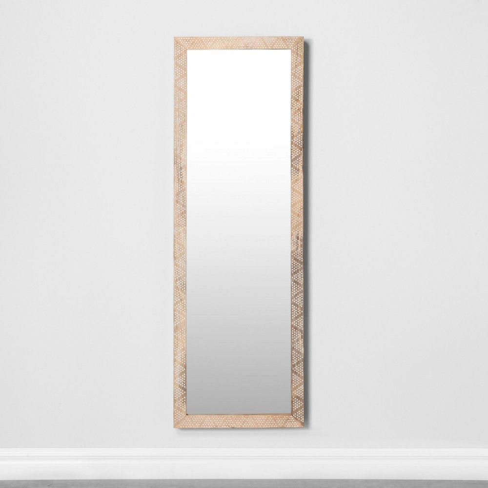 Carved Dot Natural Wood Floor Mirror Opalhouse Floor Mirror Natural Wood Flooring Natural Wood Frames
