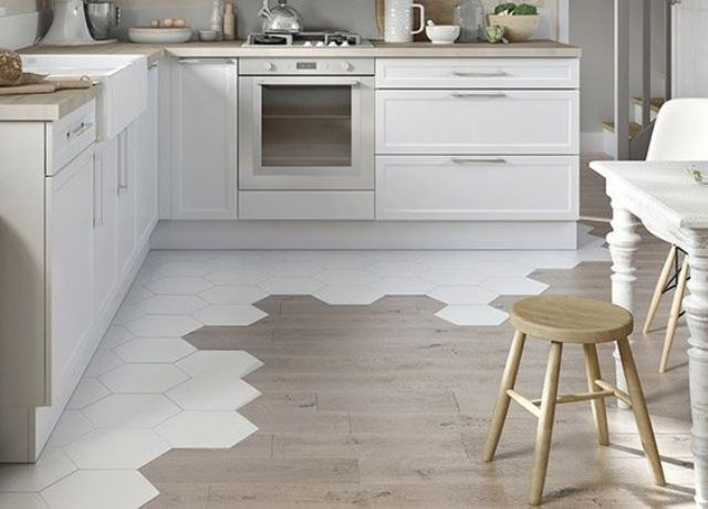 31 Hex Tiles Transitioning To Hardwood For Dividing An Eating Zone And A Kitchen Digsdigs Floor Tile Design Hexagon Tile Kitchen Flooring Trends