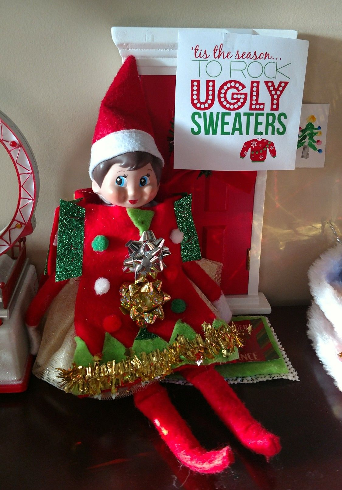 Naughty Christmas Party Ideas Part - 43: Elf On The Shelf Ugly Sweater Day #ElfIdeas