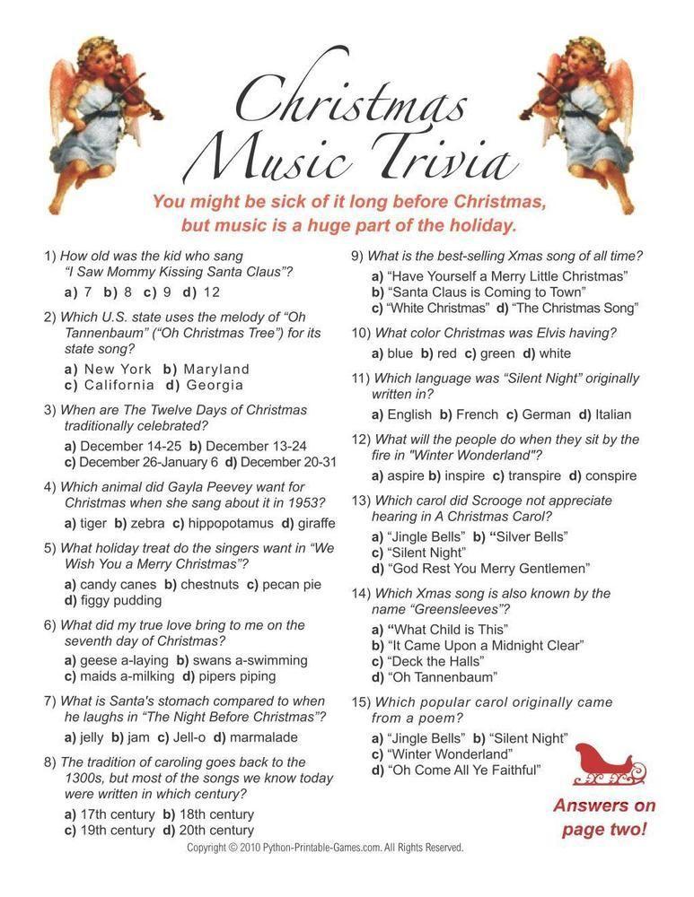 Christmas Christmas Music Trivia, 6.95 Printable