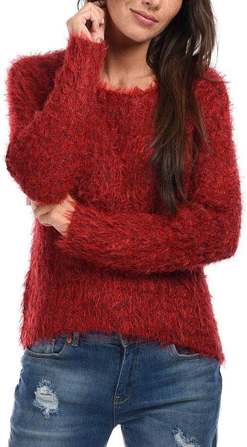 Red Fuzzy Crewneck Sweater