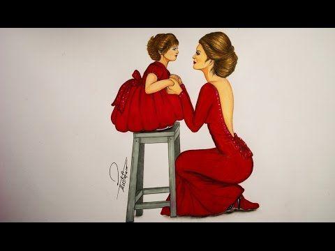 تعليم رسم ازياء رسم فستان لفتاة وطفلة باللون الاحمر Youtube Drawing Illustrations Drawings Sketches