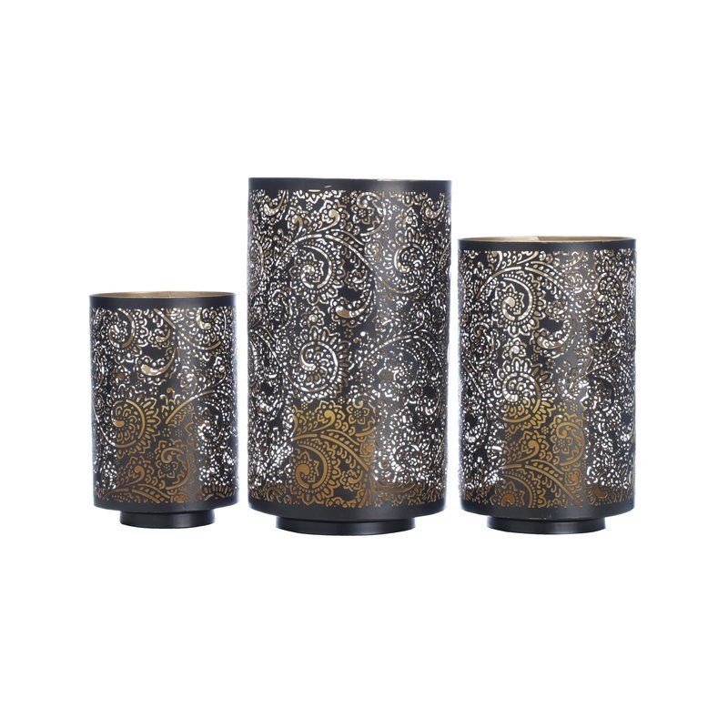 Bungalow Rose 3 Piece Paisley Metal Votive Set Reviews Wayfair Candle Holders Luminary Modern Candle Holders
