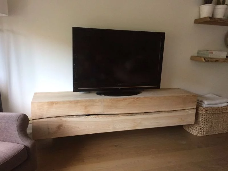 Tv Kast Dressoir Eiken.Massief Eiken Tv Meubel Zwevend Eiken Dressoir Tv Kast