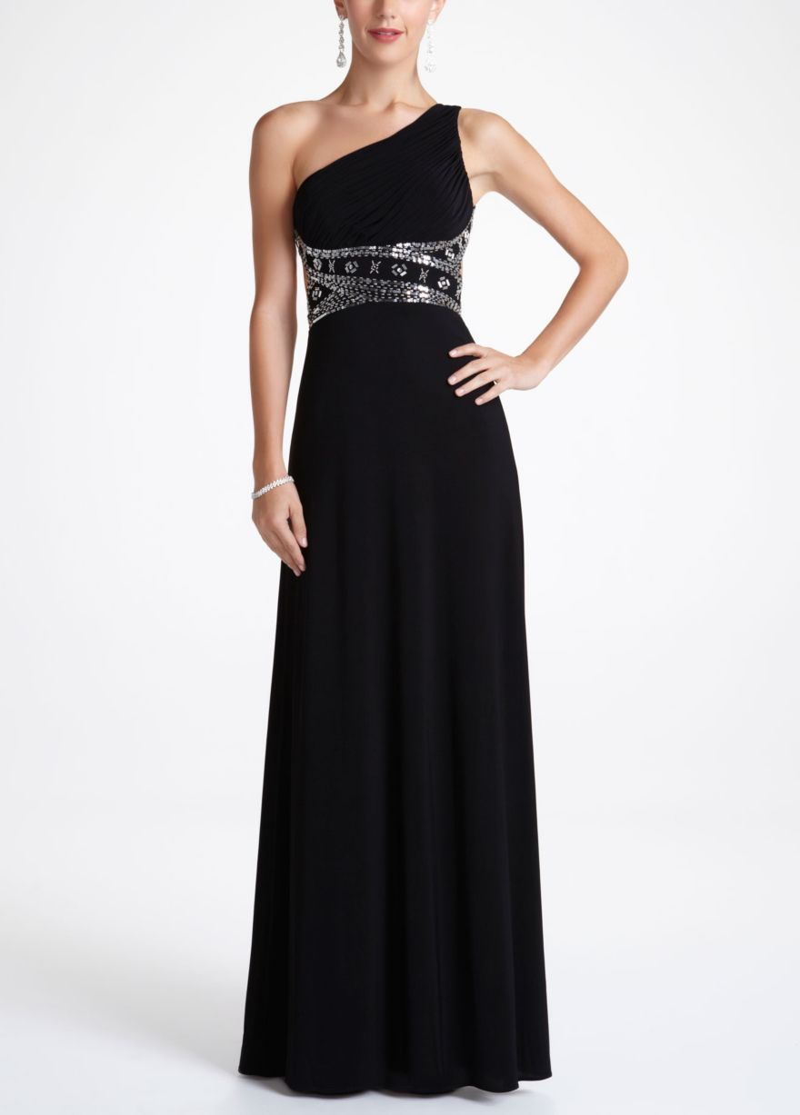 1f97187ac4 One Shoulder Beaded Jersey Prom Dress - David s Bridal
