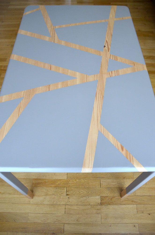 Diy j ai fait de ma vieille table de cuisine une table - Table cuisine en pin ...