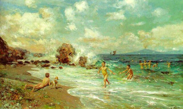 Sfondi Bambini ~ Antonino leto. i bambini nuotano a capri con vesuvius nel sfondo