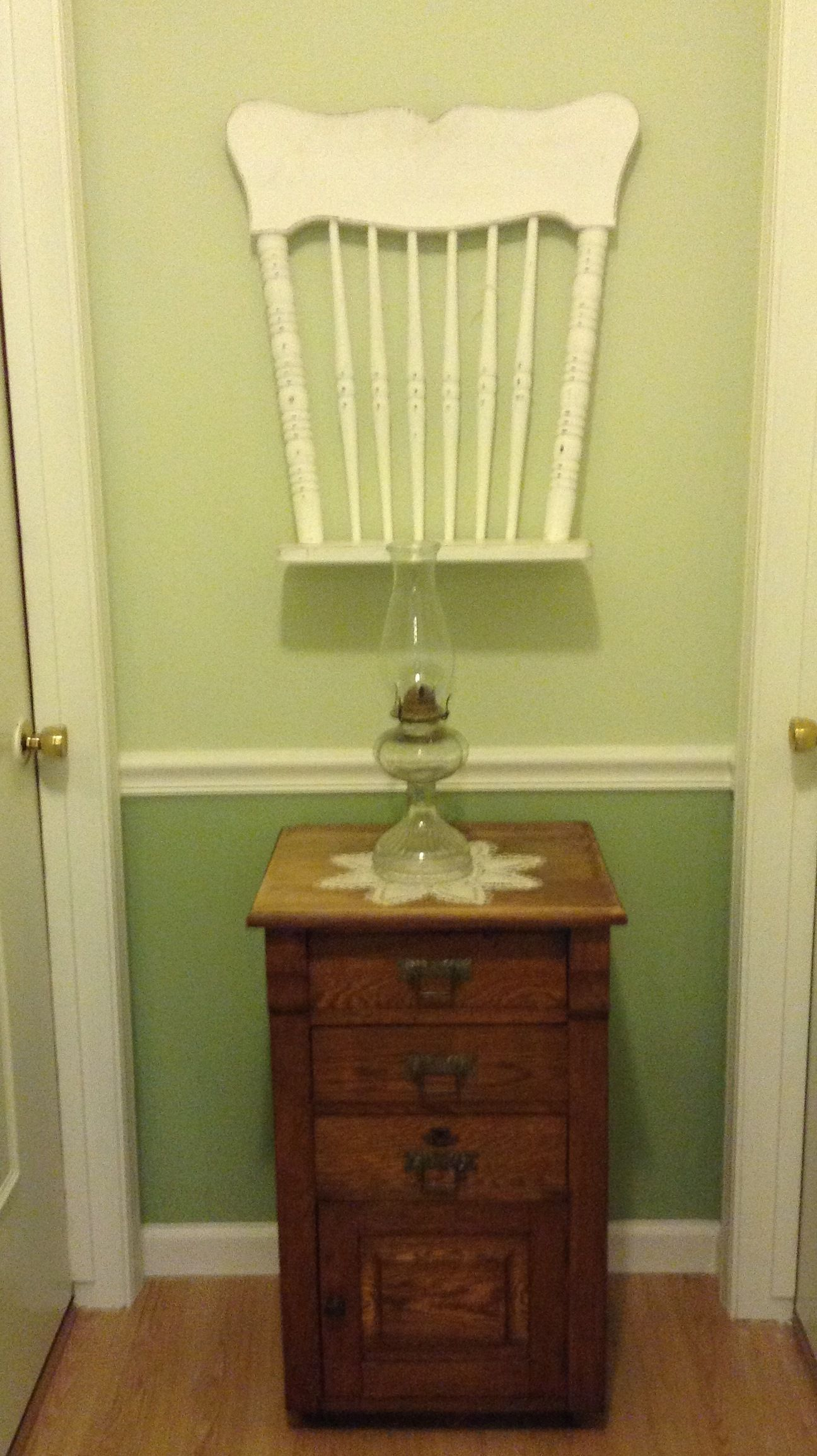 Shabby chic chair shelf found at monches farm with my mothers