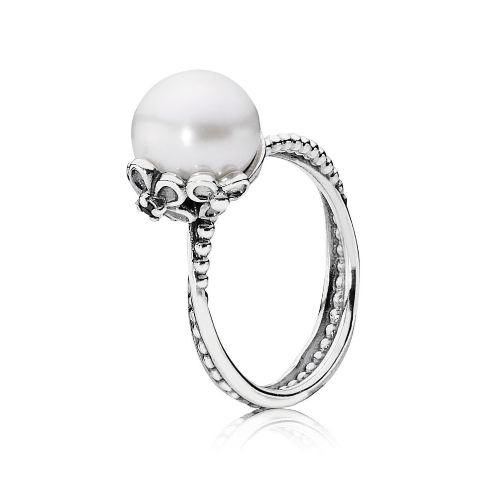 anillo pandora perla blanca